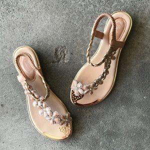 BEST SELLER Italina Floral Rhinestone Flat Sandals